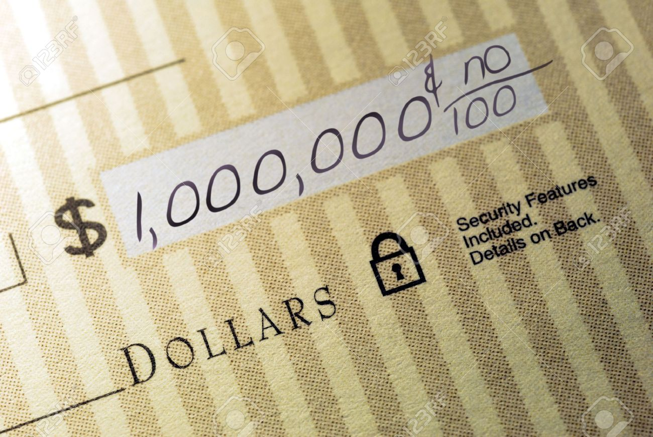 Macro Closeup of Check Made Out for One Million Dollars Stock Photo - 3482064