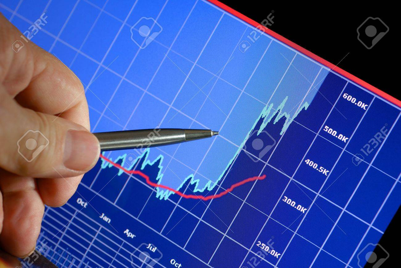 Financial chart on computer monitor, market's climbing, hand and pen pointer Stock Photo - 4367450
