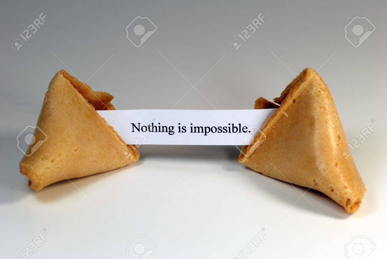 Fortune cookie with the expression: nothing is impossible. Stock Photo - 4367419