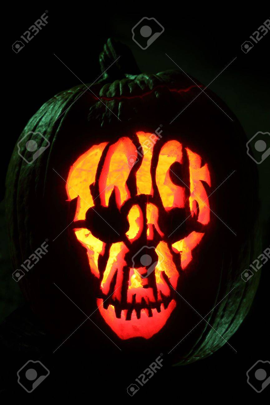 Halloween Pumpkin Carved Into Jack O Lantern Trick Or Treat Stock Photo Picture And Royalty Free Image Image 6122531