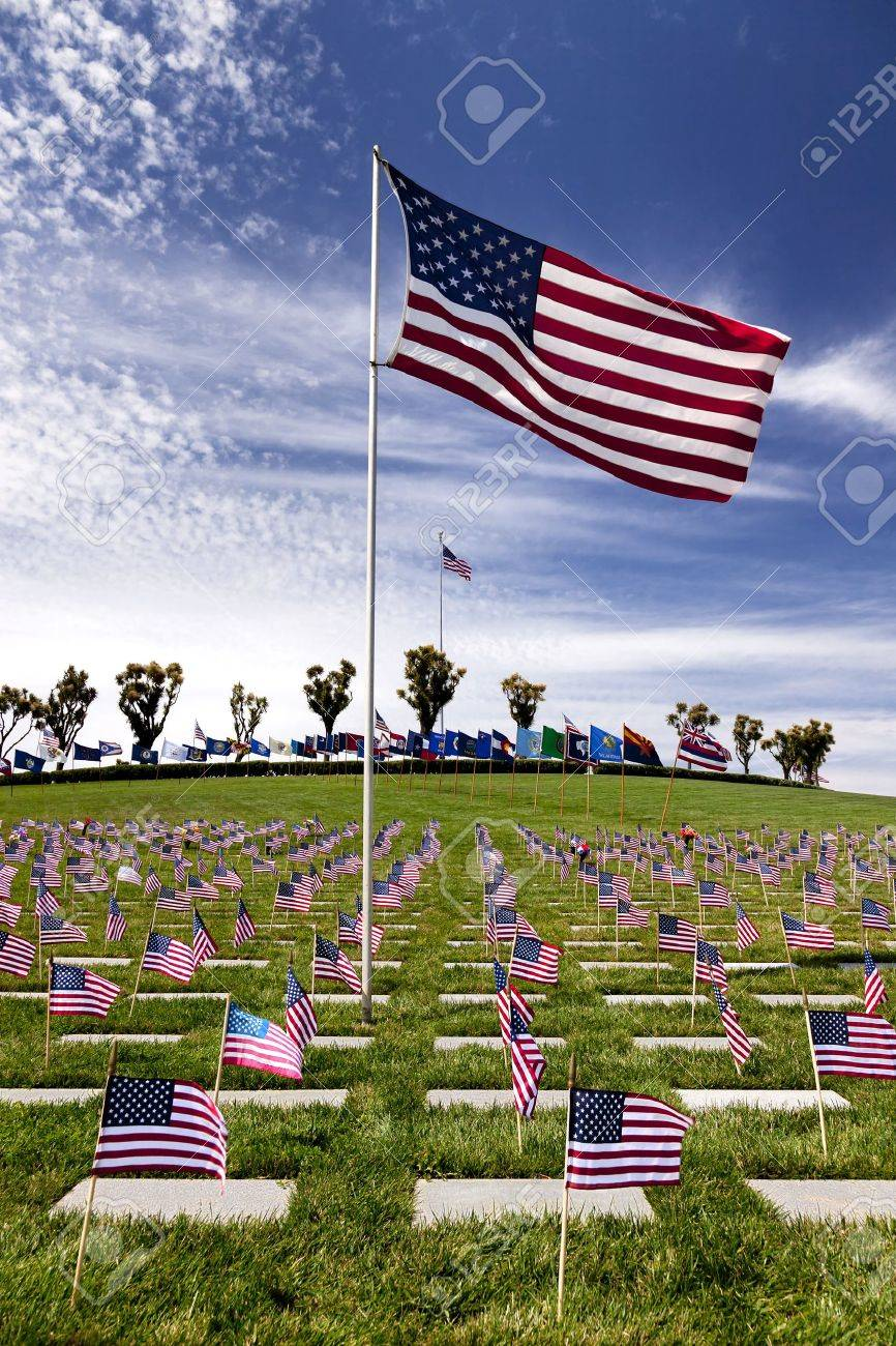 Headstones and Flags at American National Military Cemetery Stock Photo - 12468770