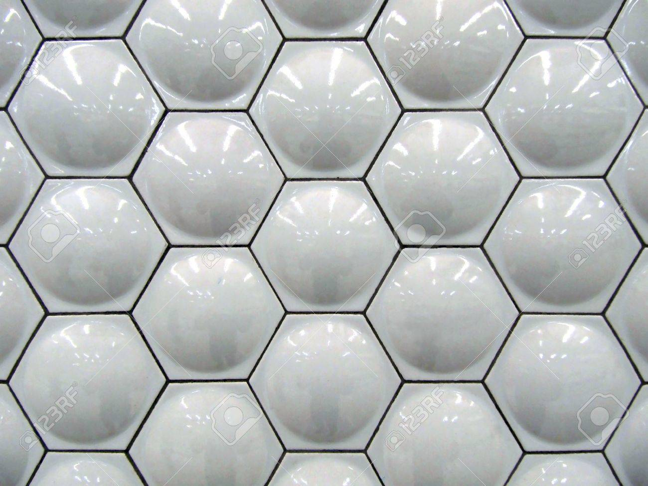 White Hexagon Bubble Shaped Ceramic Wall Tiles In Background Stock
