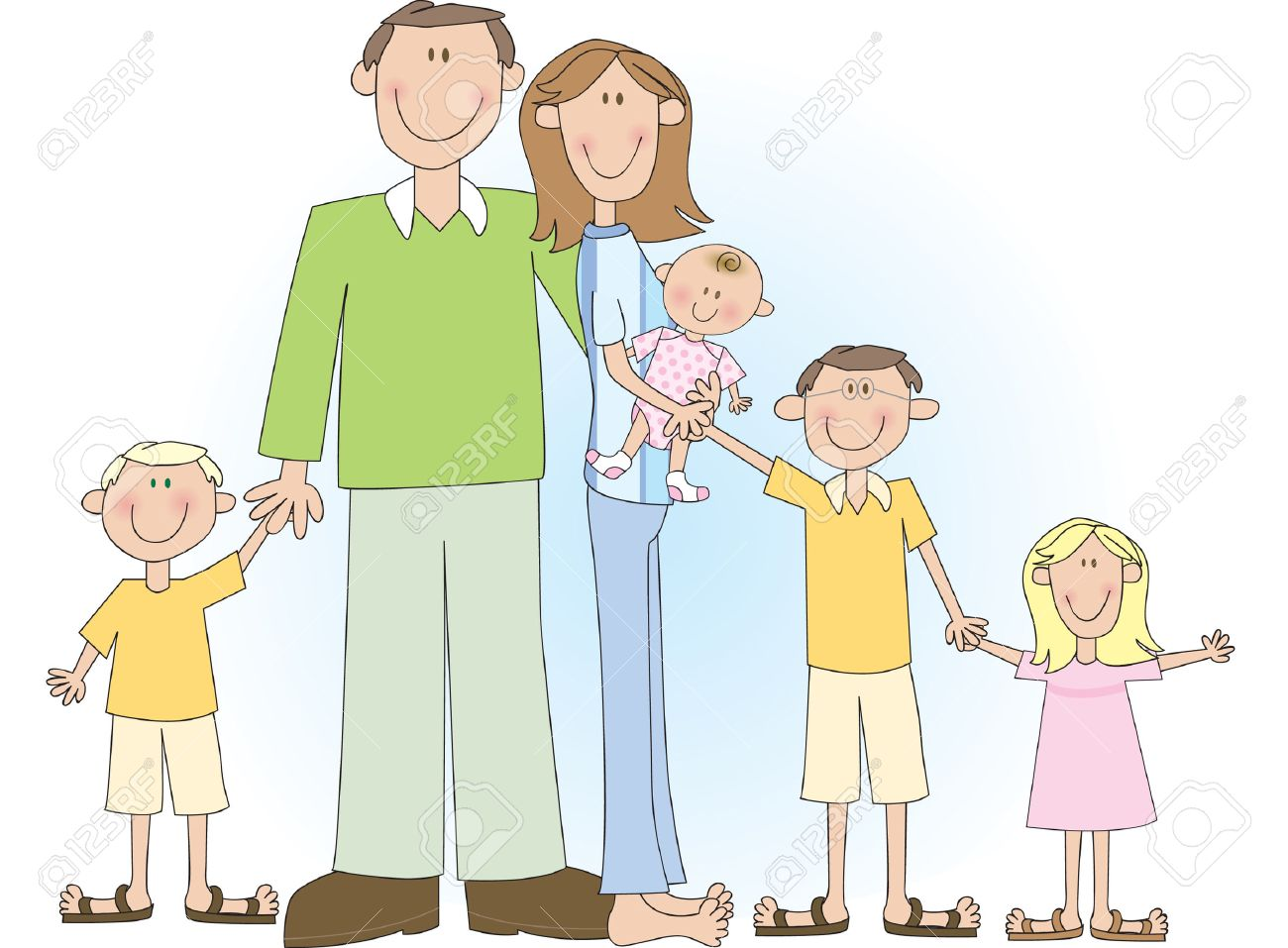 A cartoon vector drawing of a large family including father, mother, two boys and two girls. Stock Vector - 3570738