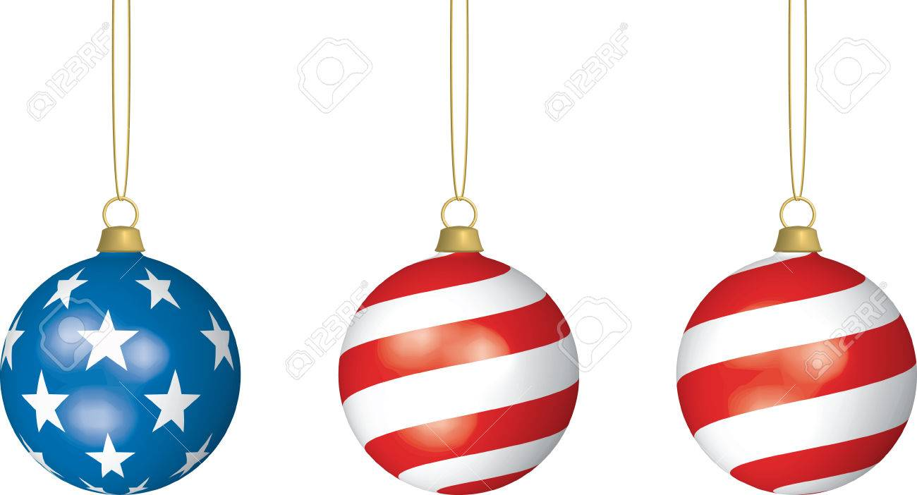 3D illustration of three American Flag-themed Christmas Bulbs hanging from thin strings on white background. Stock Vector - 3889539