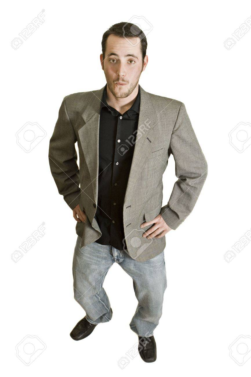 Surprised Businessman With A Casual Sport Jacket And Jeans