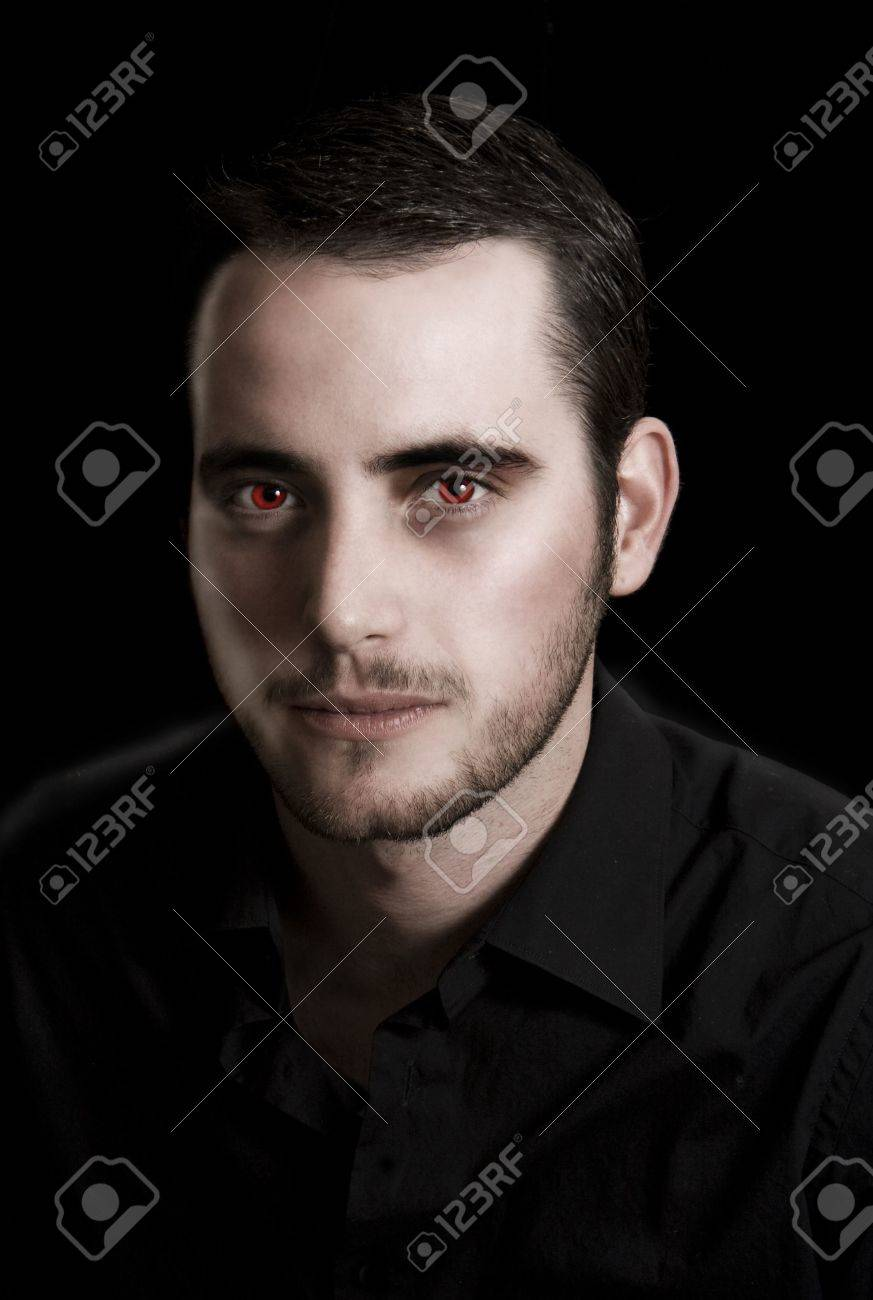 Image of a young man in black manipulated to look like a vampire Stock Photo - 4245683