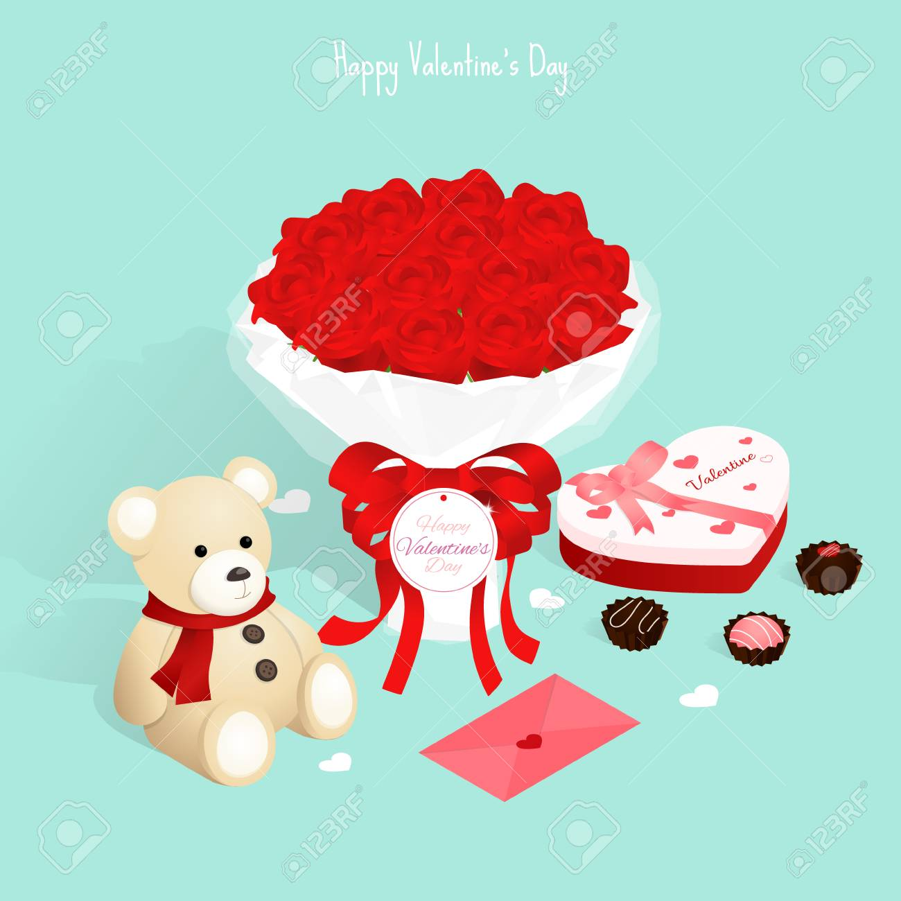 love letter Valentine/'s Day Illustration Clipart heart anniversary Love holiday candy teddy bear romantic cupcake chocolate