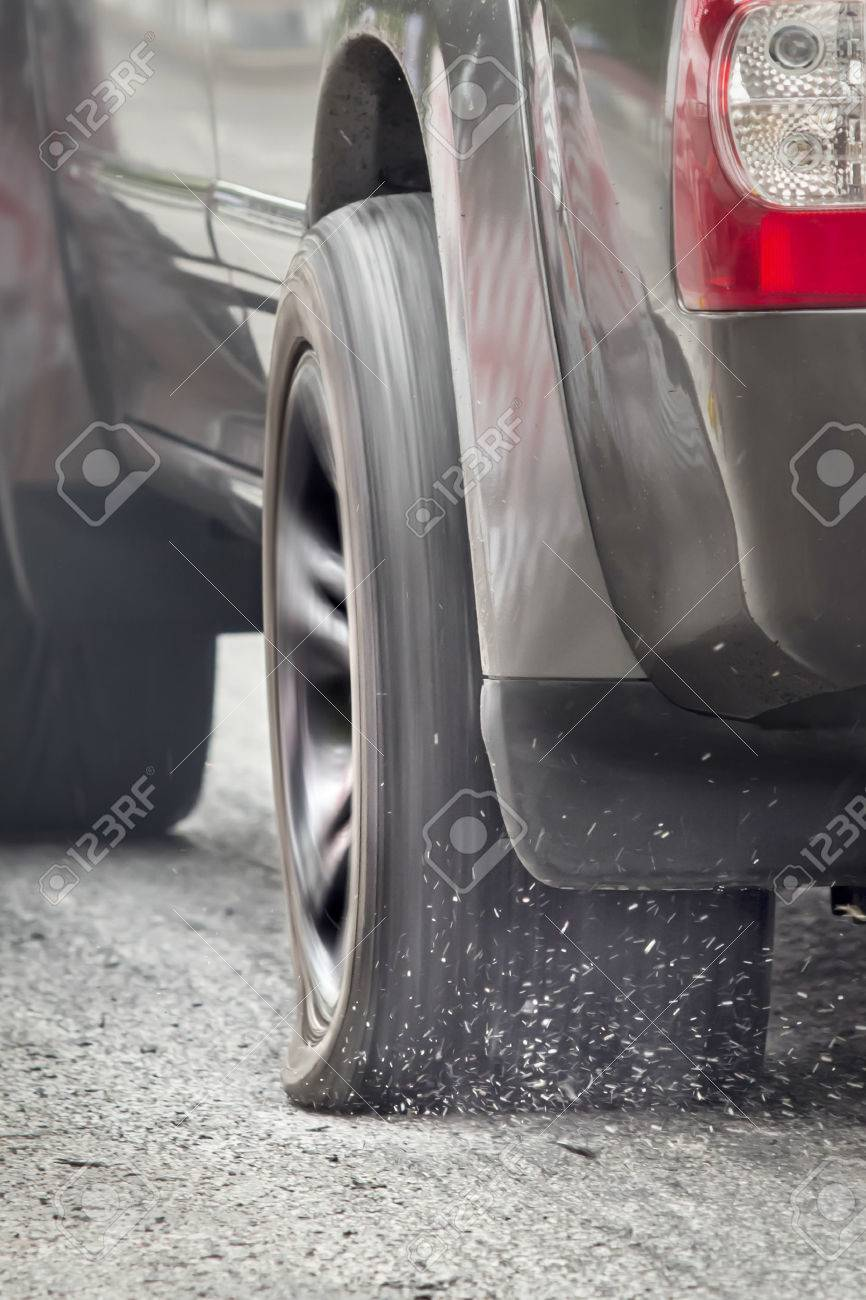Suv car run on flat tire stock photo picture and royalty free image stock photo suv car run on flat tire altavistaventures Image collections