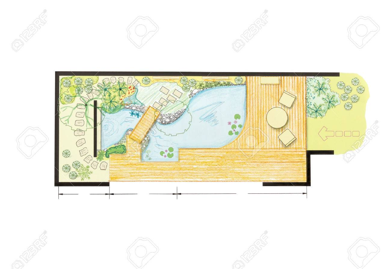 water garden design plan for backyard stock photo picture and
