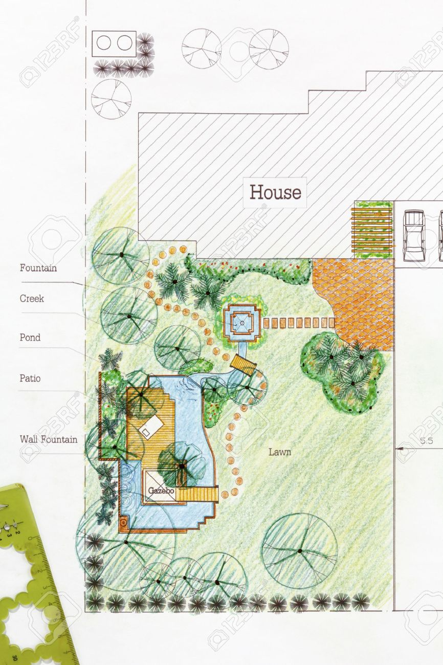 Landscape Architect Design Water Garden Plans For Backyard Stock