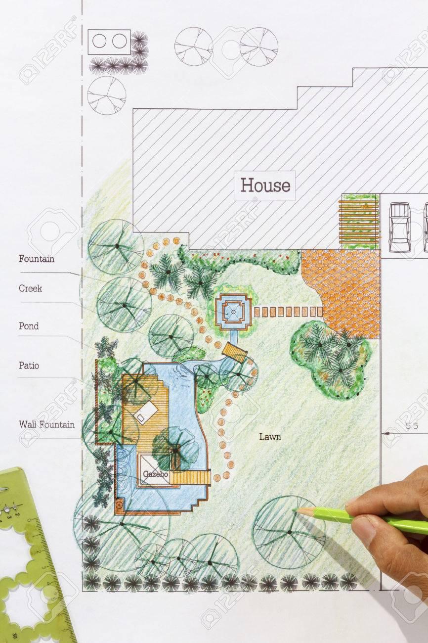 Landscape Architect Design Water Garden Plans For Backyard Stock Photo    35607450