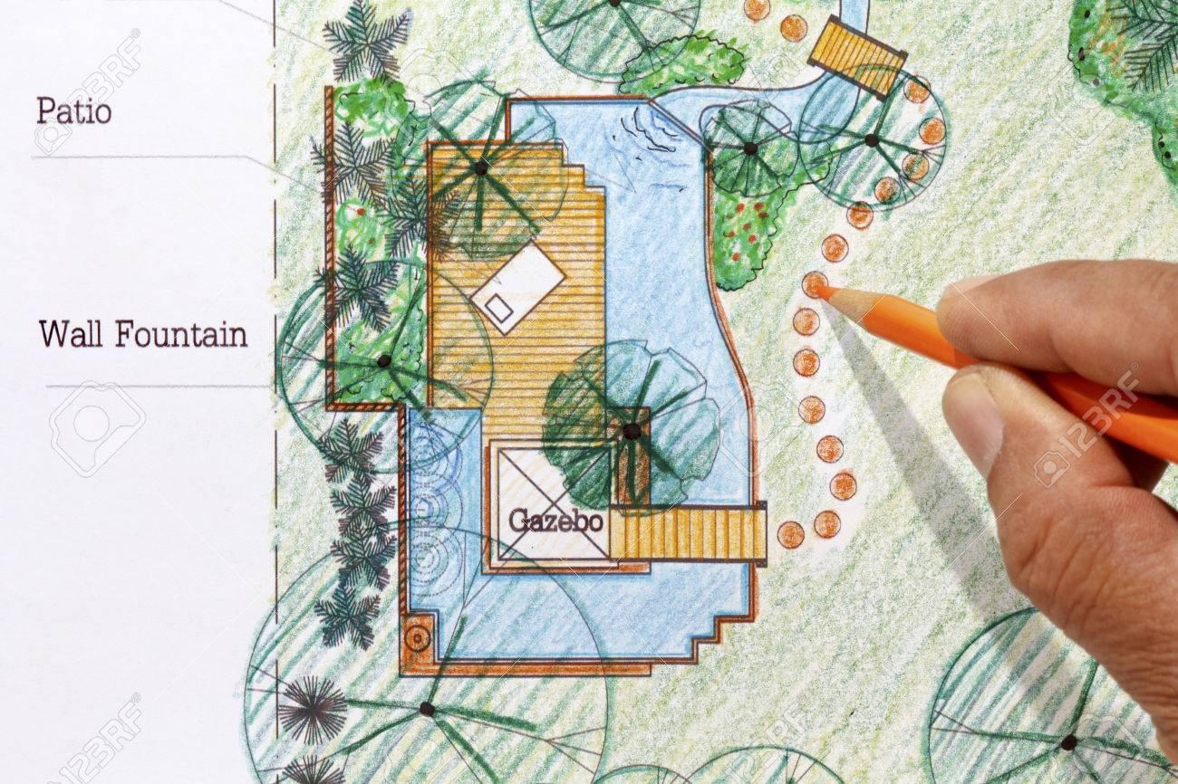 Landscape Architect Design Water Garden Plans For Backyard Stock Photo    35607454