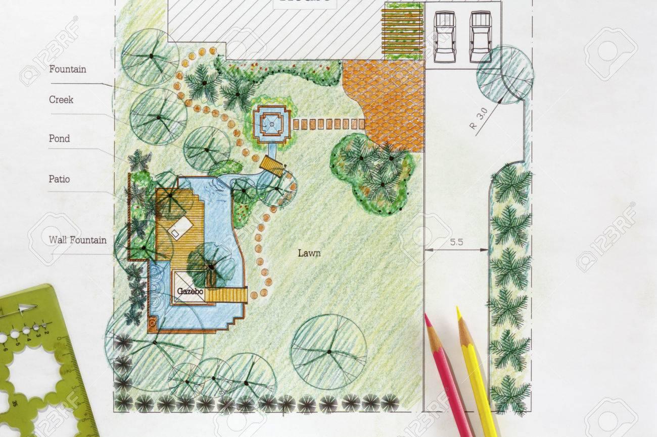 Landscape Architect Design Water Garden Plans For Backyard Stock ...