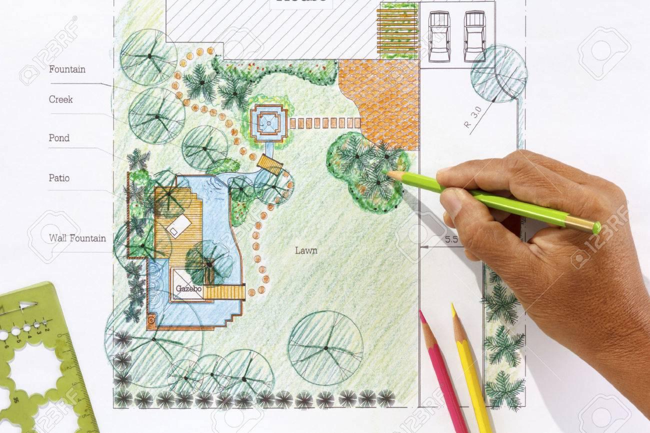 landscape architect design water garden plans for backyard stock, Garten Ideen
