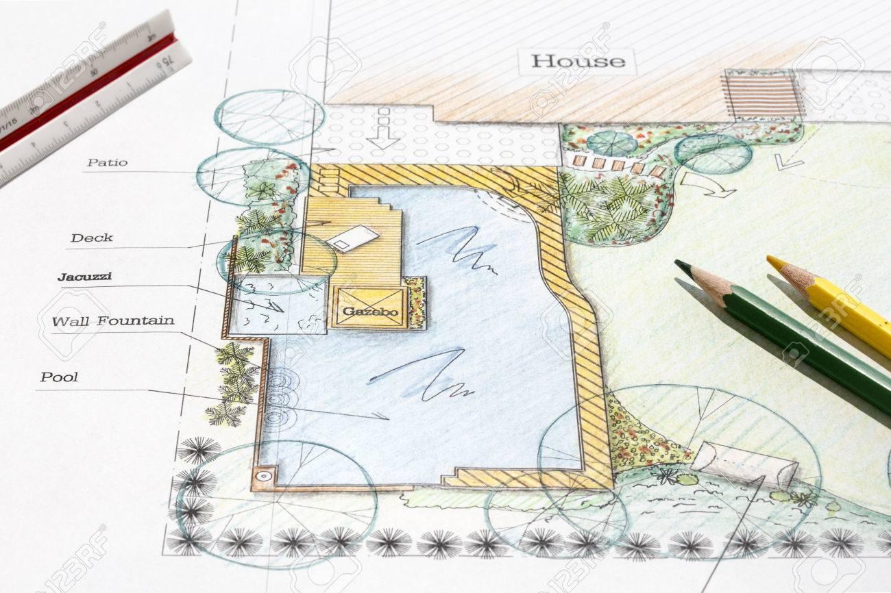 landscape architect design backyard garden plan stock photo 41450460 patio landscape architecture design - Patio Landscape Architecture Design