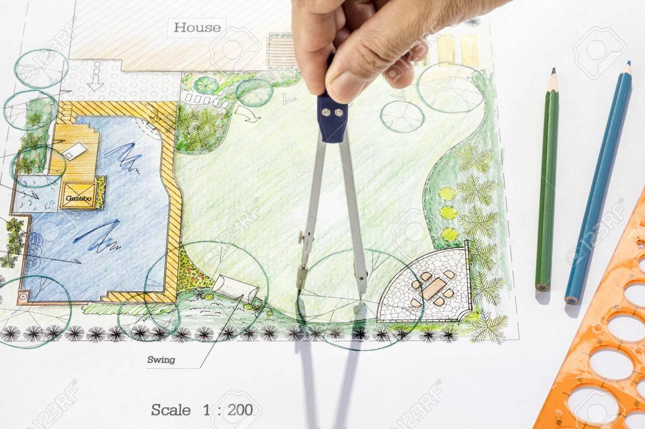 Landschaftsarchitekt Design Hinterhof-Garten-Plan. Lizenzfreie ...