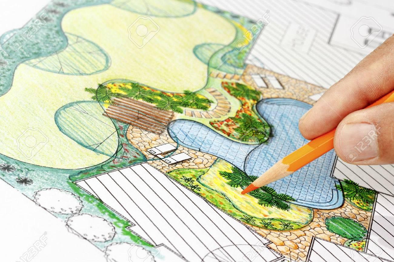 Landscape architect design backyard plan for villa Stock Photo - 44337762