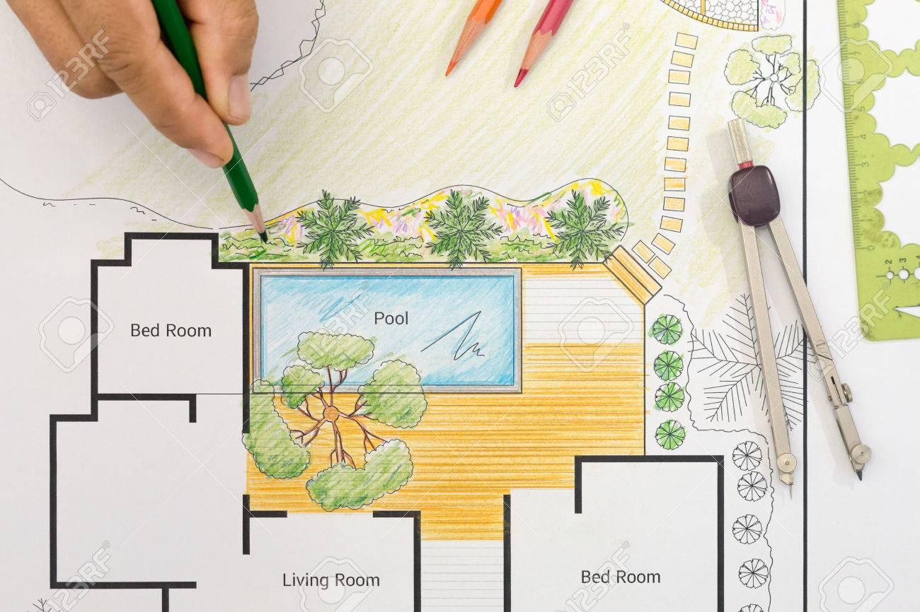 Landschaft Architekt Design Hinterhof Plan Für Villa Standard Bild    64077490