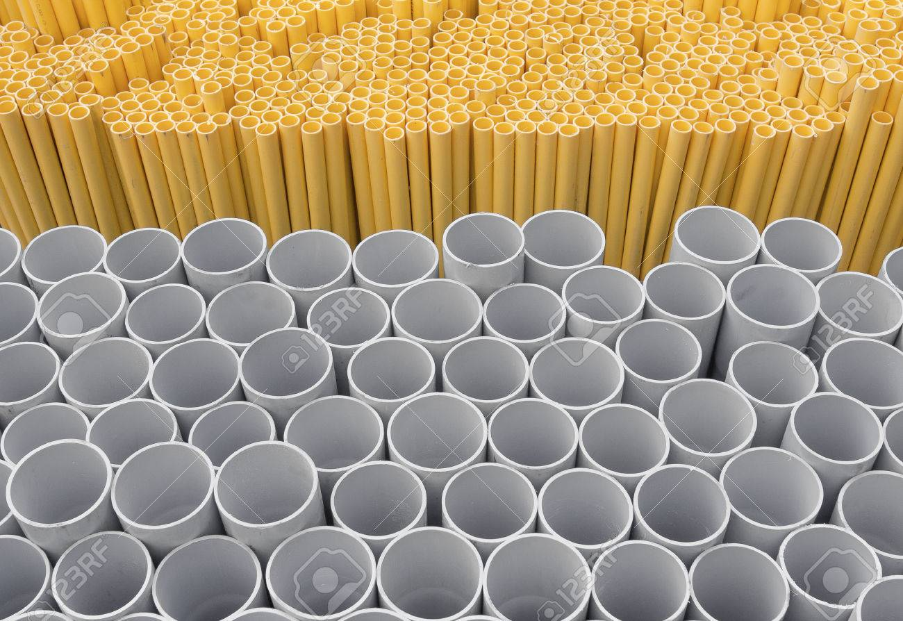 Pvc Pipes Stacked In Warehouse Yellow Pipe For Electrical Wiring Stock Photo Picture And Royalty Free Image Image 64077494