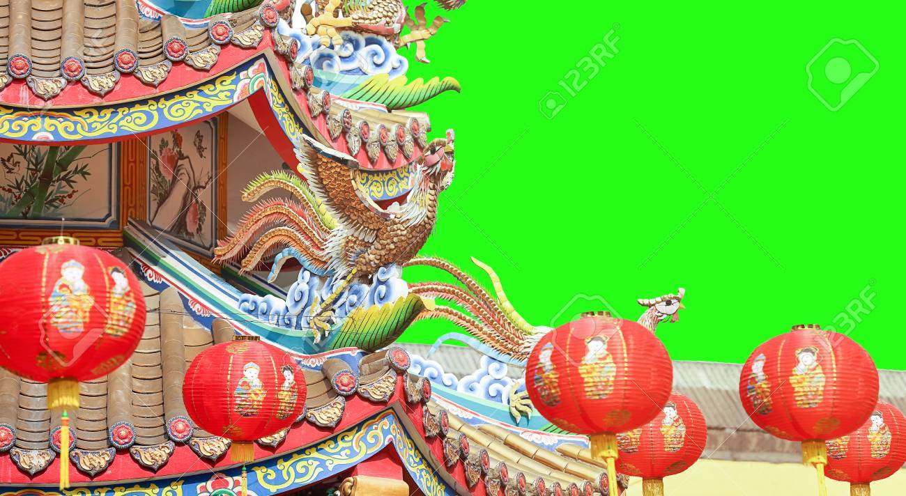 chinese new year lanterns at teple green screen background stock photo 69889975