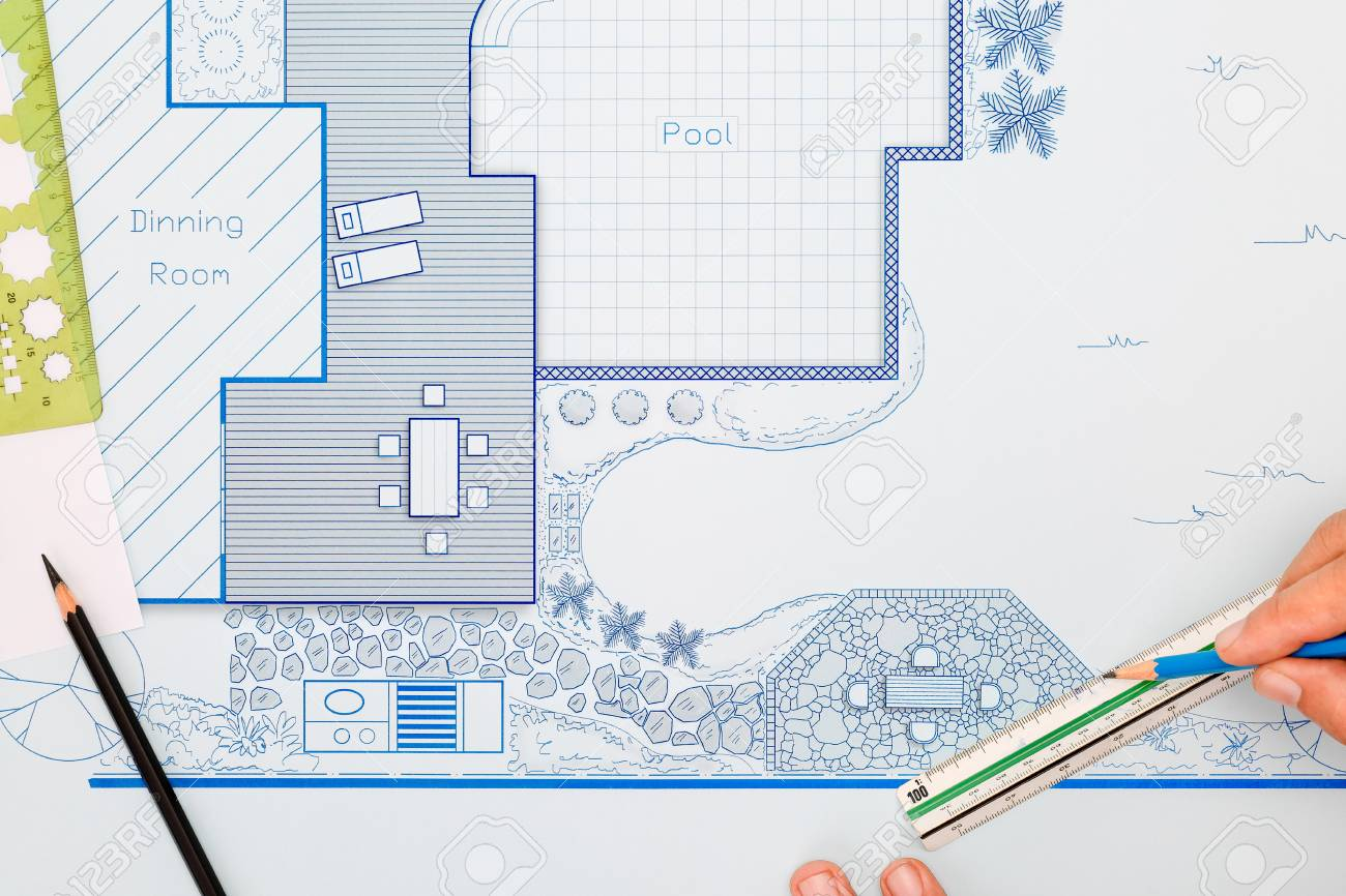Blueprint backyard garden and pool design plan for villa.