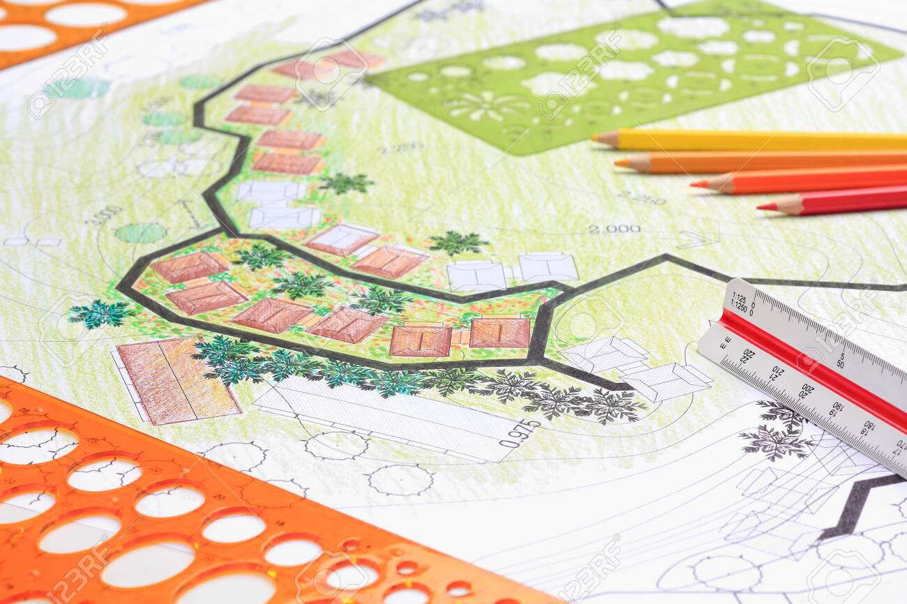 Landscape architecture design garden plan for housing development - 123098246