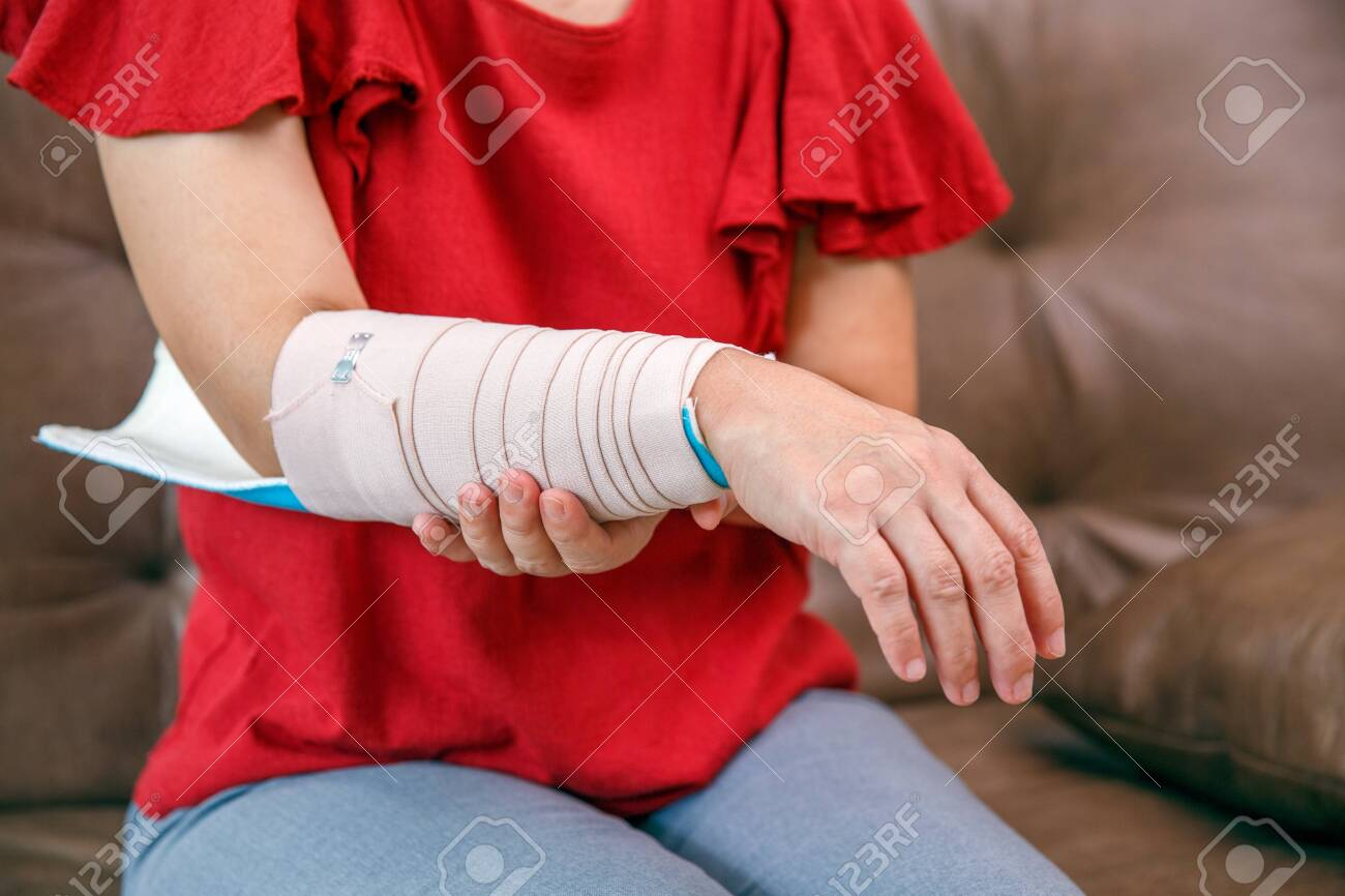 Osteoporosis Splint With An Elastic Bandage Is Applied To Help