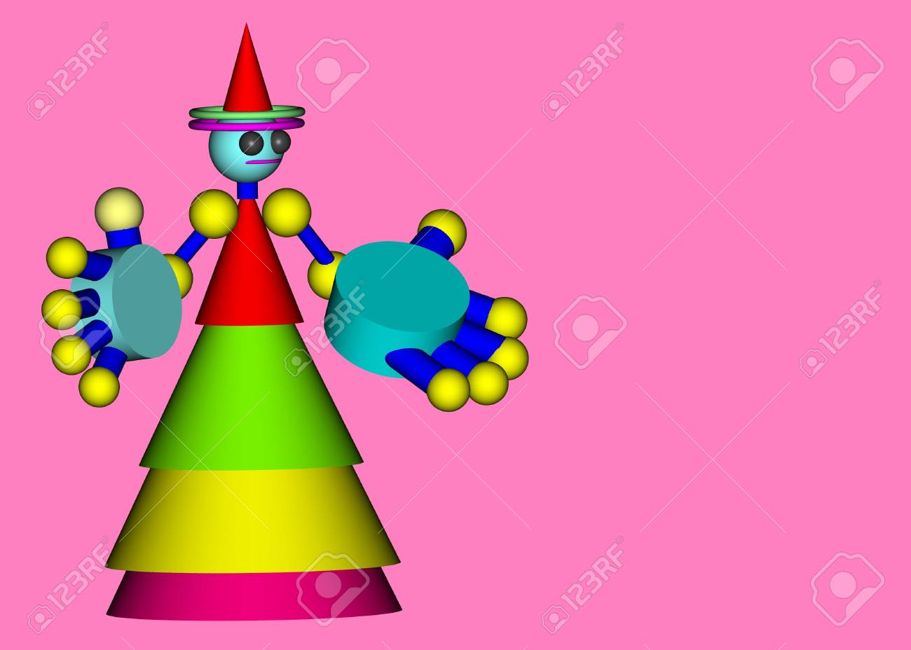 3d doll background composition, Stock Photo - 7882611