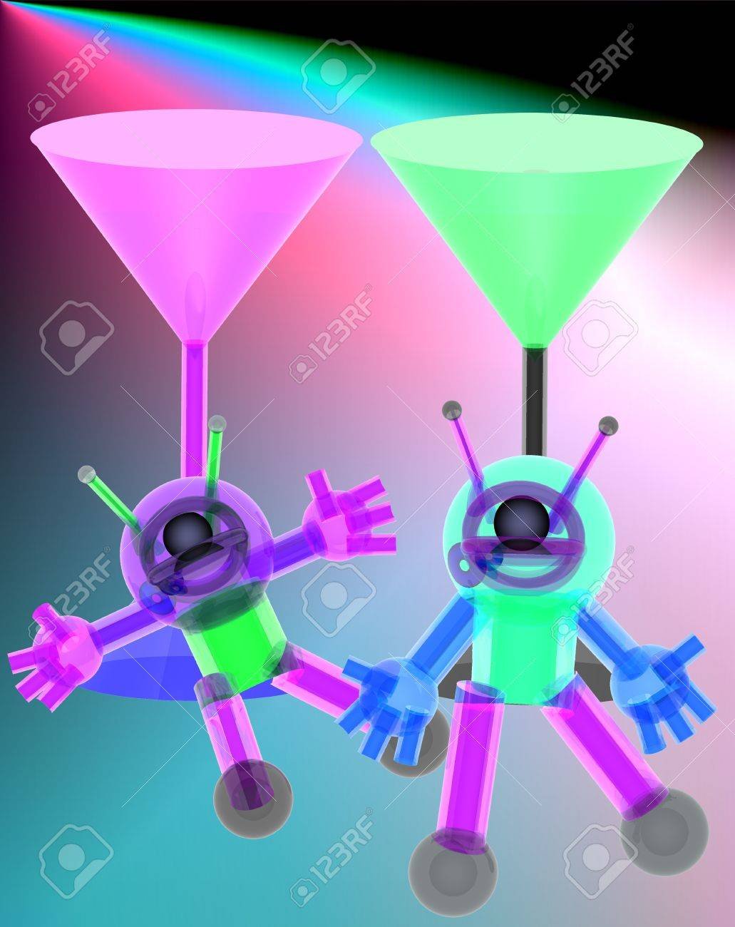 3d Robot and red wine glass on  colorful background. Stock Photo - 9807540