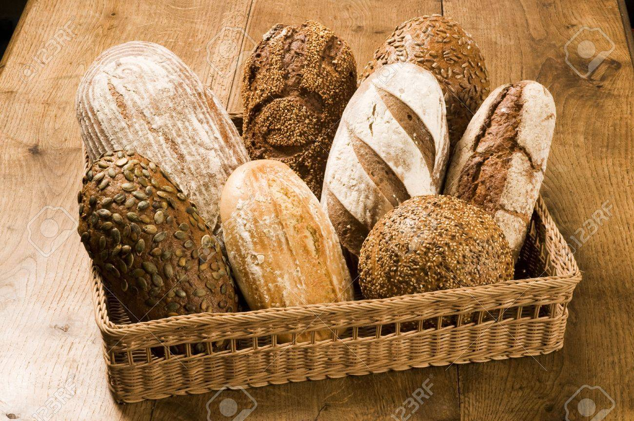 Various types of bread in a basket Stock Photo - 6446121
