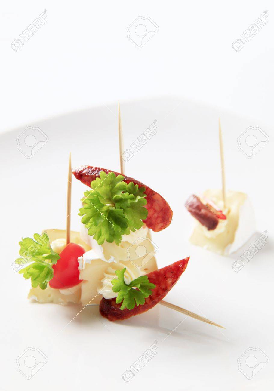 Cheese hors d'oeuvres on sticks - closeup Stock Photo - 8657560
