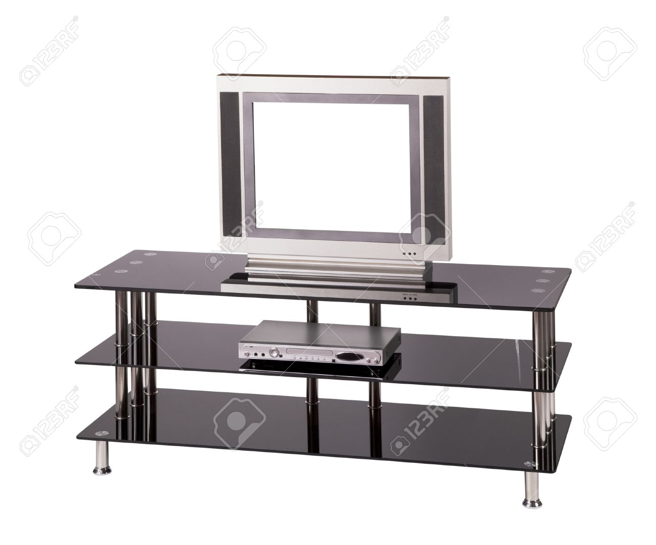 Modern TV Table Stand With Glass Shelves Stock Picture And