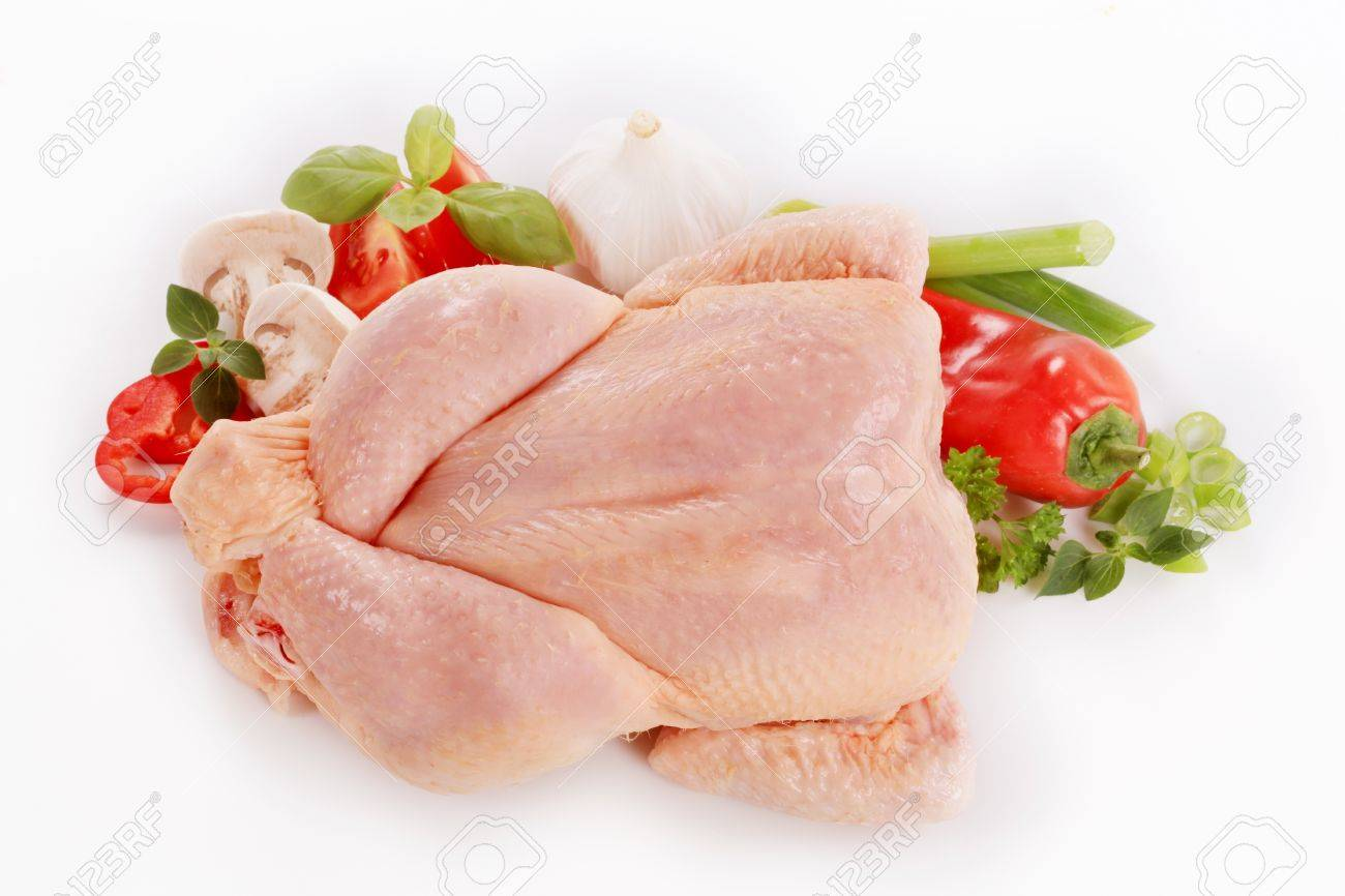 Raw chicken and fresh vegetables - overhead Stock Photo - 9765932
