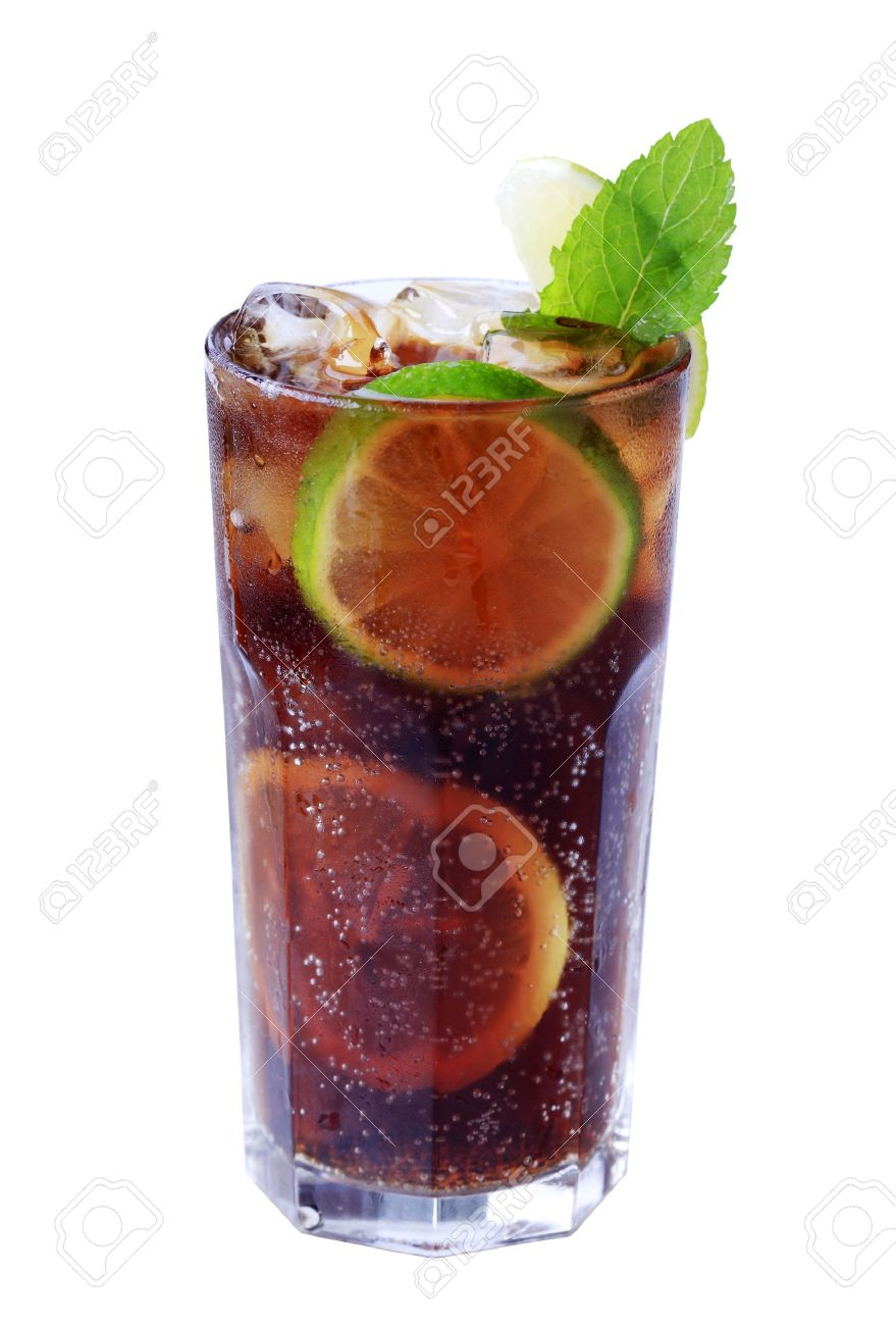 Tall glass of iced drink with slices of lime Stock Photo - 10584068