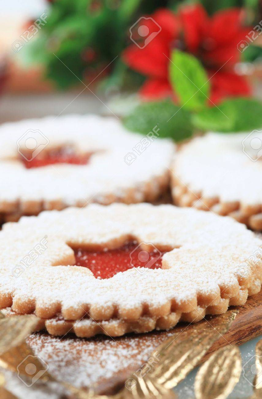Christmas shortbread cookies with jam filling Stock Photo - 21055352