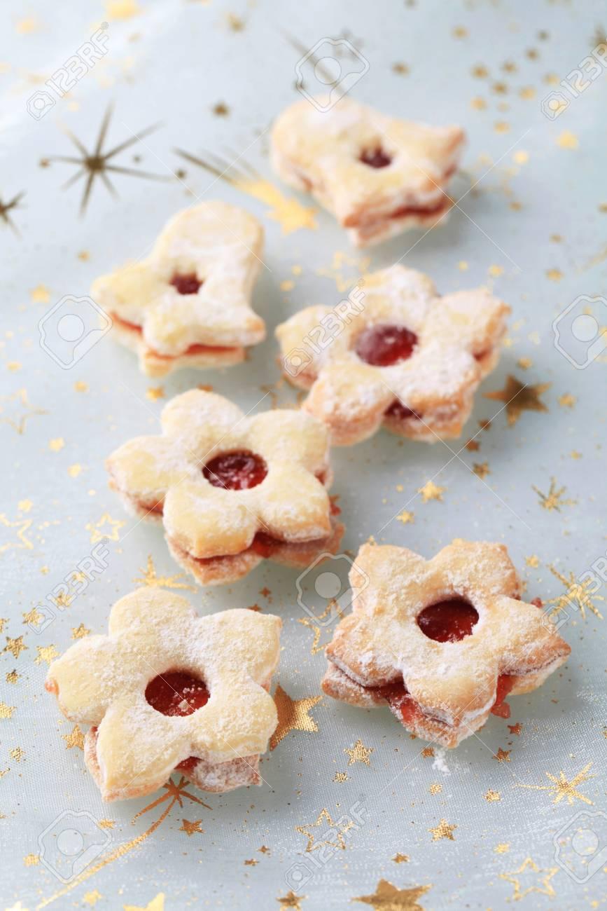 Christmas Jam Cookies Sprinkled With Icing Sugar