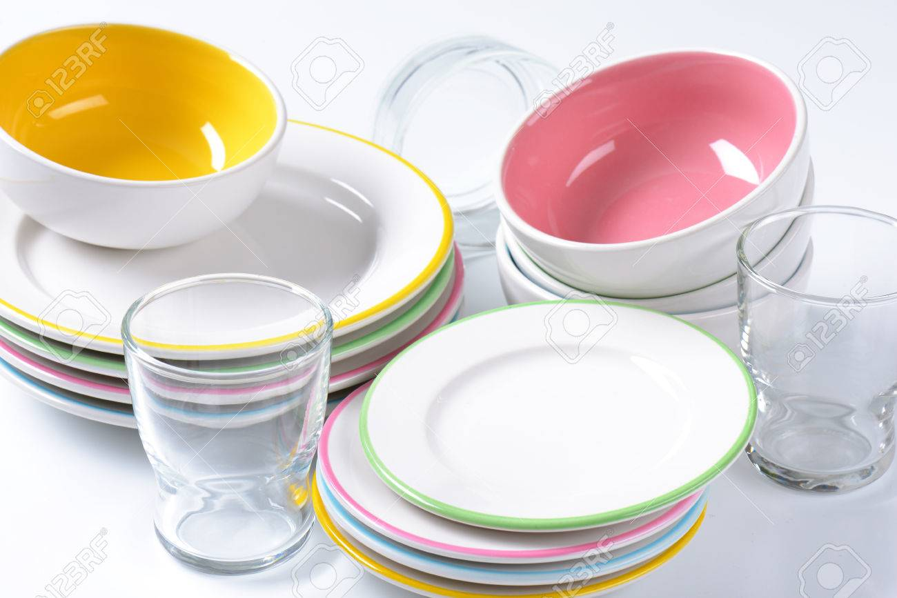 Dinner set consisting of deep bowls dinner plates side plates and glasses Stock Photo  sc 1 st  123RF.com & Dinner Set Consisting Of Deep Bowls Dinner Plates Side Plates ...