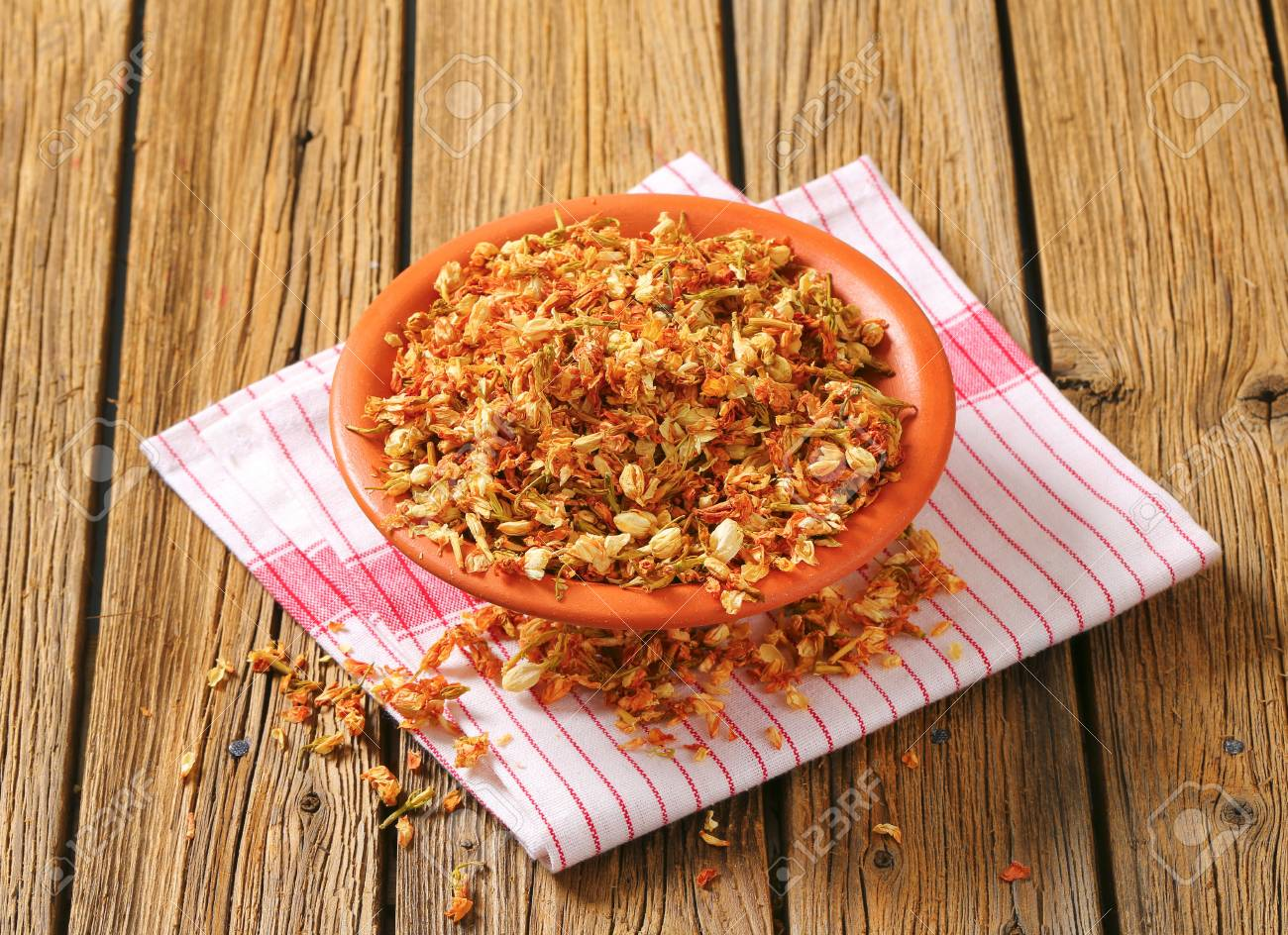 Bowl Of Dried Jasmine Flowers Stock Photo Picture And Royalty Free