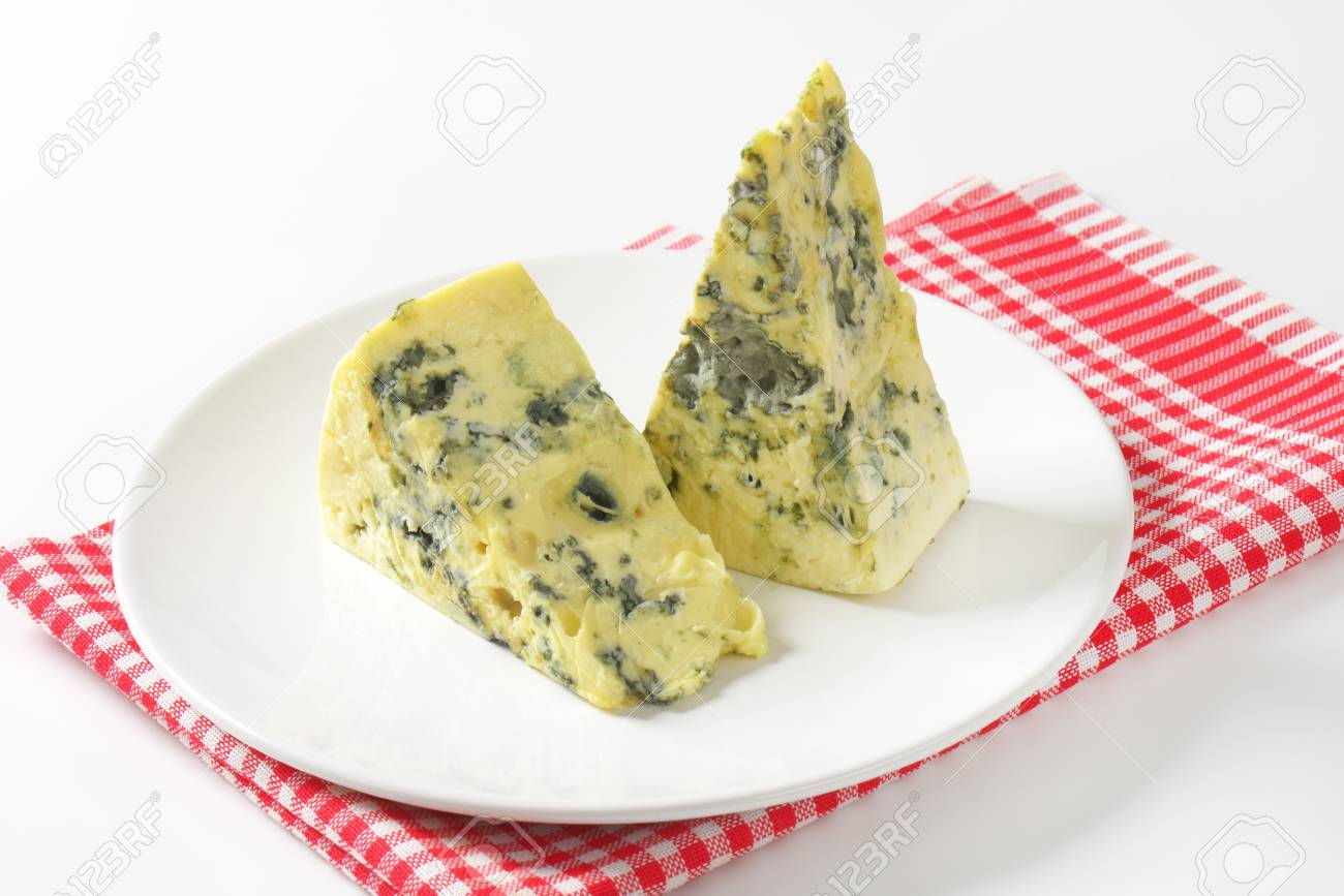 two wedges of french blue cheese stock photo picture and royalty