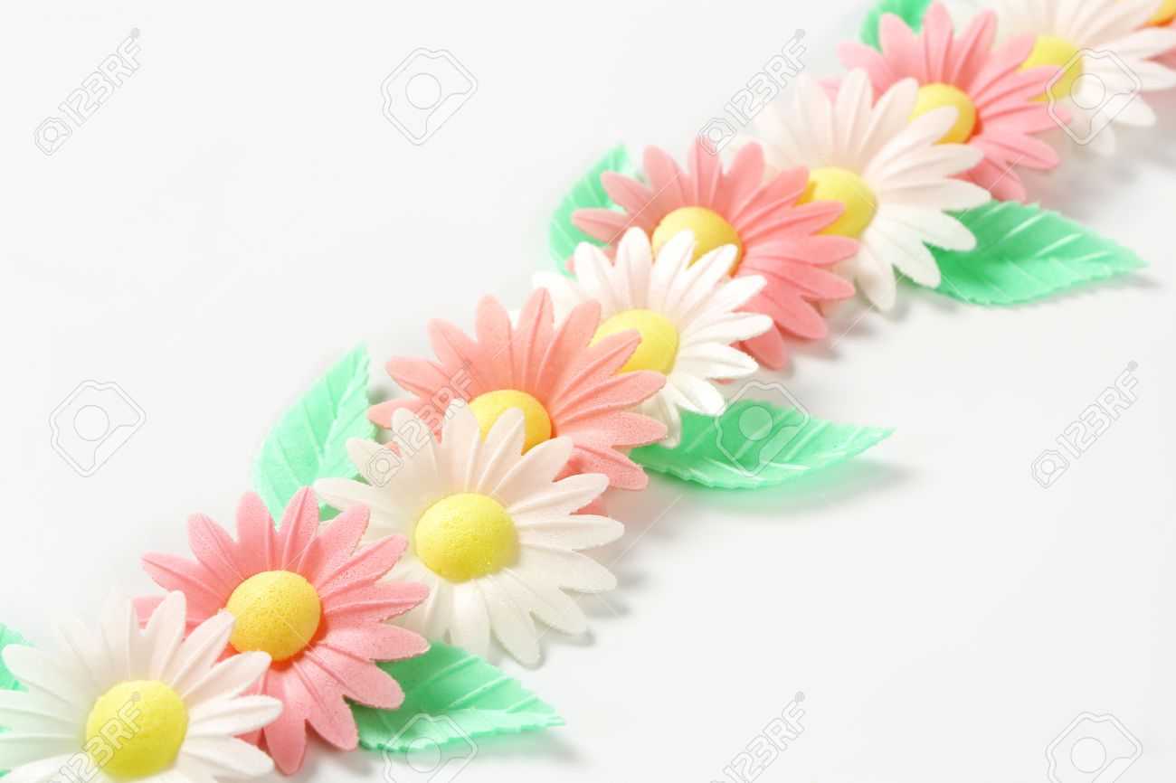 Edible Wafter Paper Daisy Flowers With Leaves Stock Photo Picture