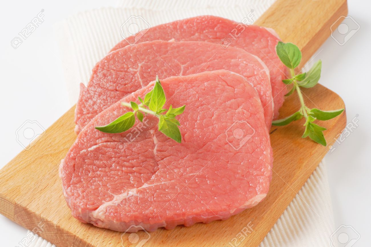 Raw Boneless Pork Loin Chops Stock Photo 58554013
