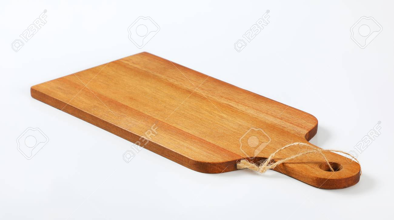 Wooden Cutting Board With Handle And String On White Background