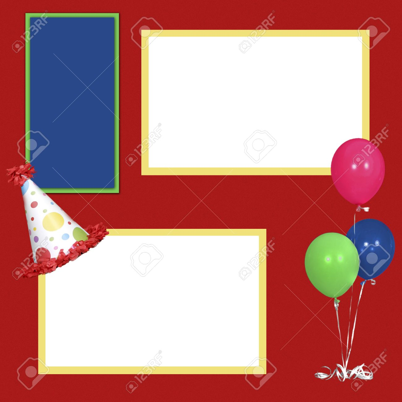birthday theme square frame scrapbook template insert your photos