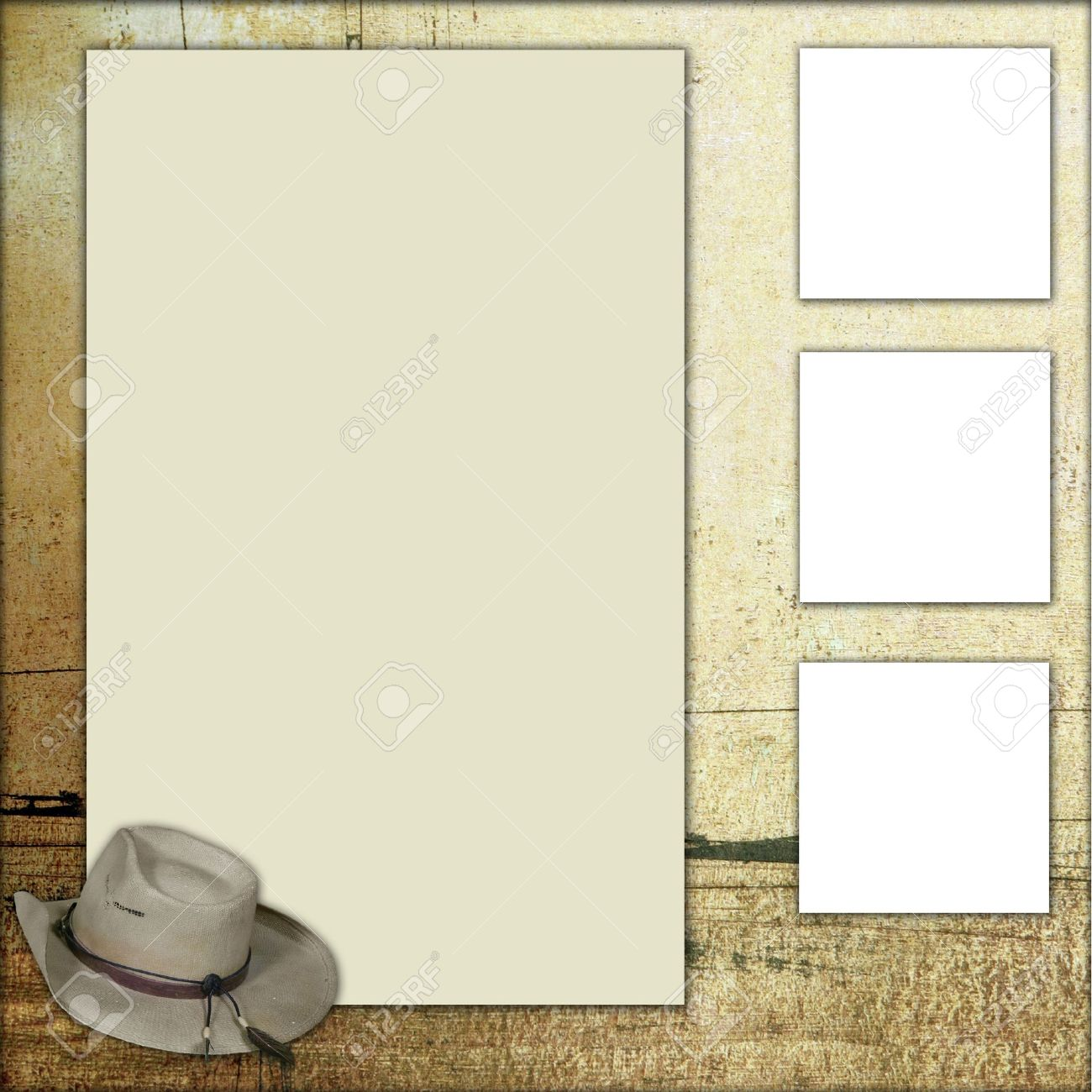 Western Theme Square Frame Scrapbook Template-Insert Your Photos ...