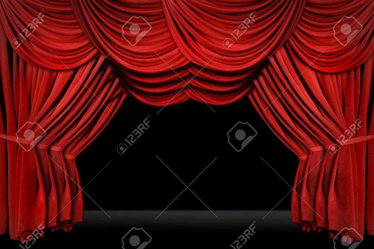 Stock photo dramatic red old fashioned elegant theater stage stock - Horozontal Old Fashioned Elegant Theater Stage With Velvet Curtains Leading Upstage In An Arch Stock Photo