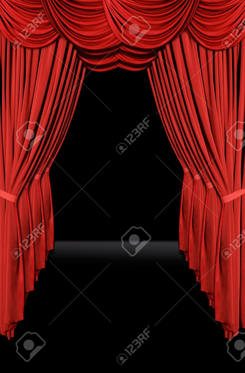 Stock photo dramatic red old fashioned elegant theater stage stock - Vertical Old Fashioned Elegant Theater Stage With Velvet Curtains Leading Upstage In An Arch Stock Photo