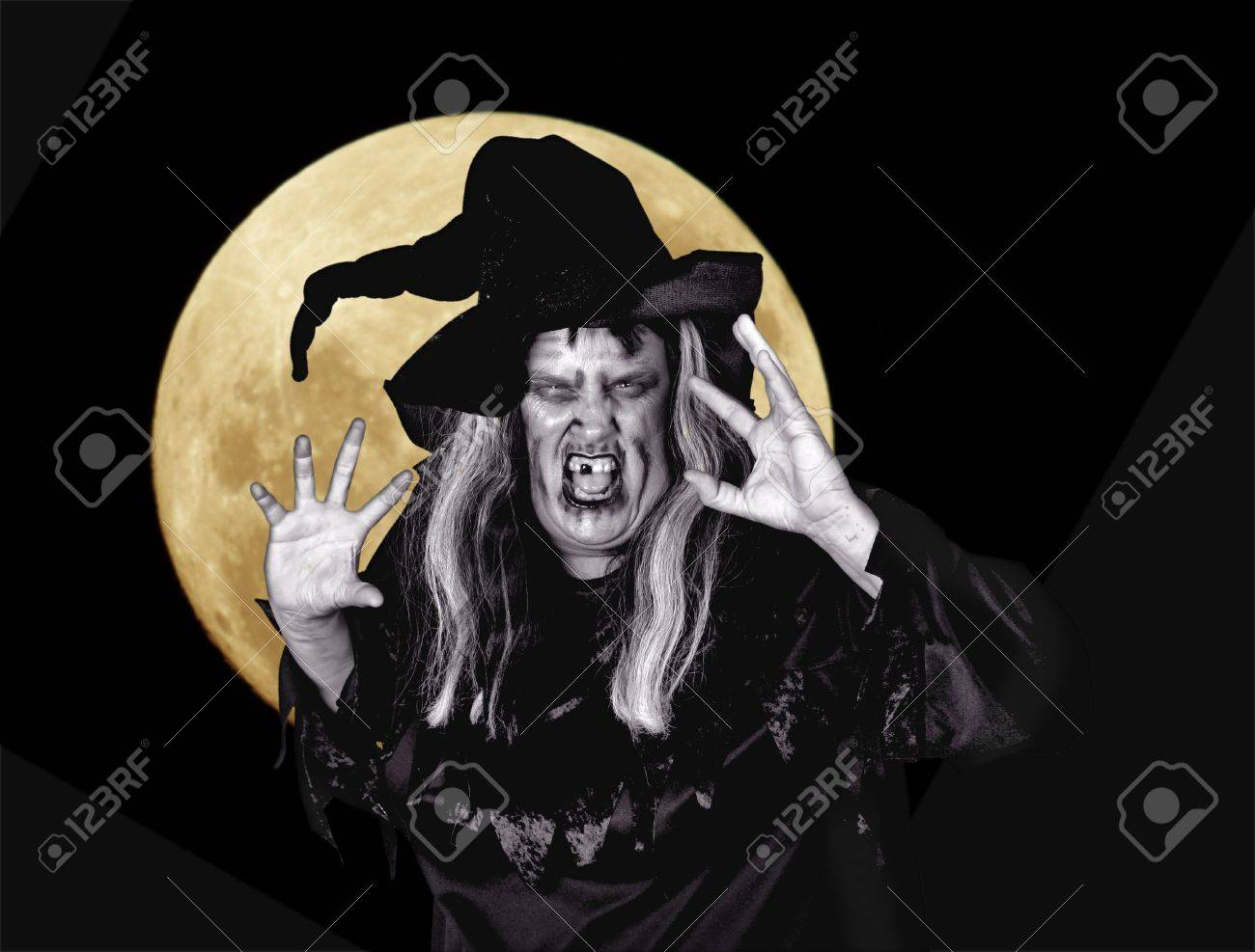 Scarry Woman Witch Making Mean Expression Stock Photo - 962050