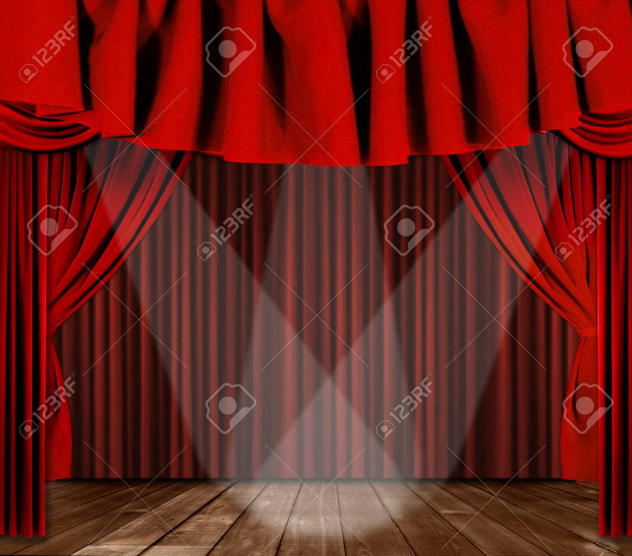 Black theatre curtain - Red Horozontal Draped Theatre Curtains On Black With 3 Spotlights Stock Photo 1482679