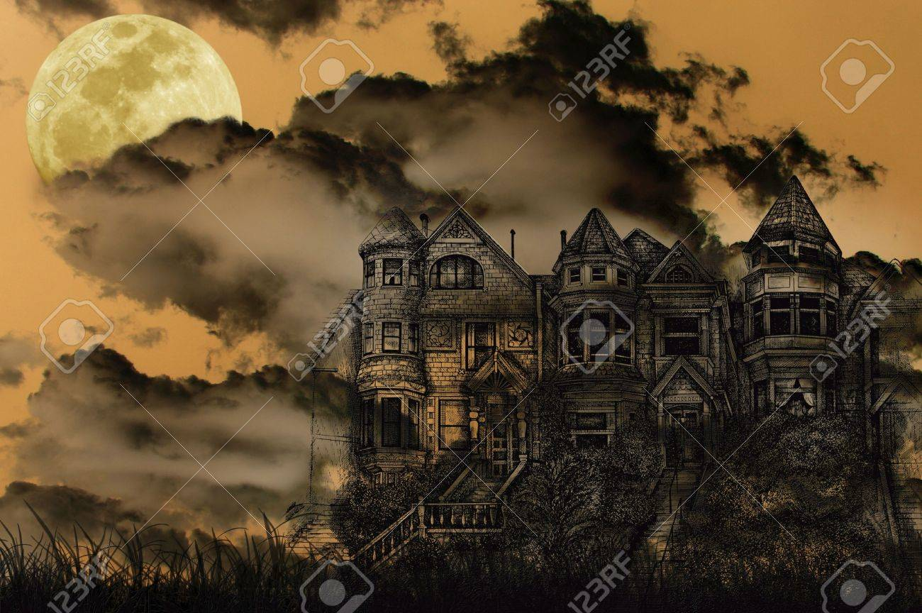 old victorian haunted mansion illustrated on a spooky background