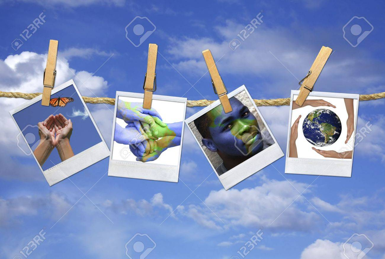 Photos with the concept of Global Issues Hanging on a Rope With Clothespins Stock Photo - 3350326
